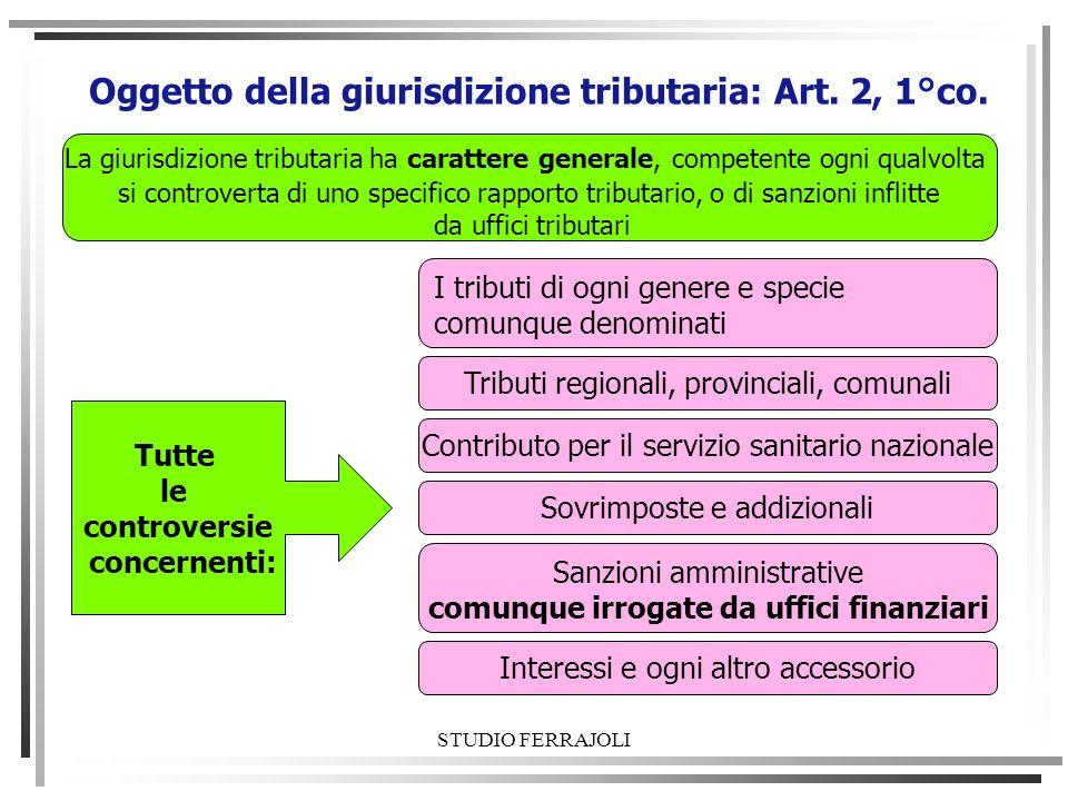 STUDIO FERRAJOLI Oggetto della giurisdizione tributaria: Art. 2, 1°co. I tributi di ogni genere e specie comunque denominati Tributi regionali, provin