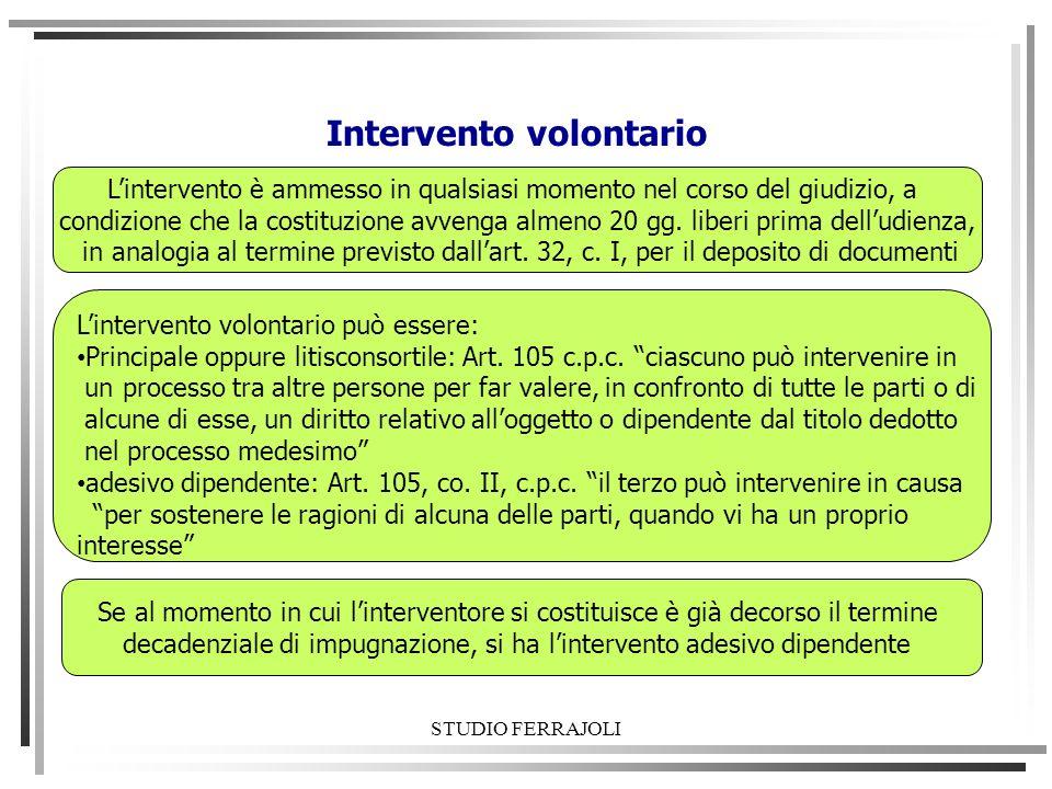 STUDIO FERRAJOLI Intervento volontario Lintervento volontario può essere: Principale oppure litisconsortile: Art. 105 c.p.c. ciascuno può intervenire