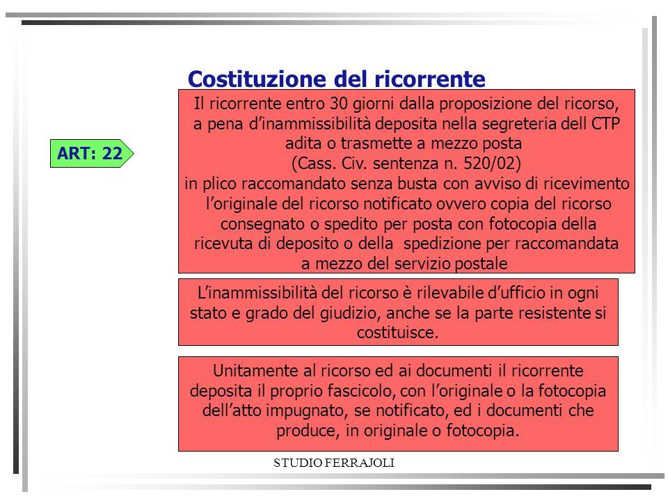 STUDIO FERRAJOLI Costituzione del ricorrente ART: 22 Linammissibilità del ricorso è rilevabile dufficio in ogni stato e grado del giudizio, anche se l