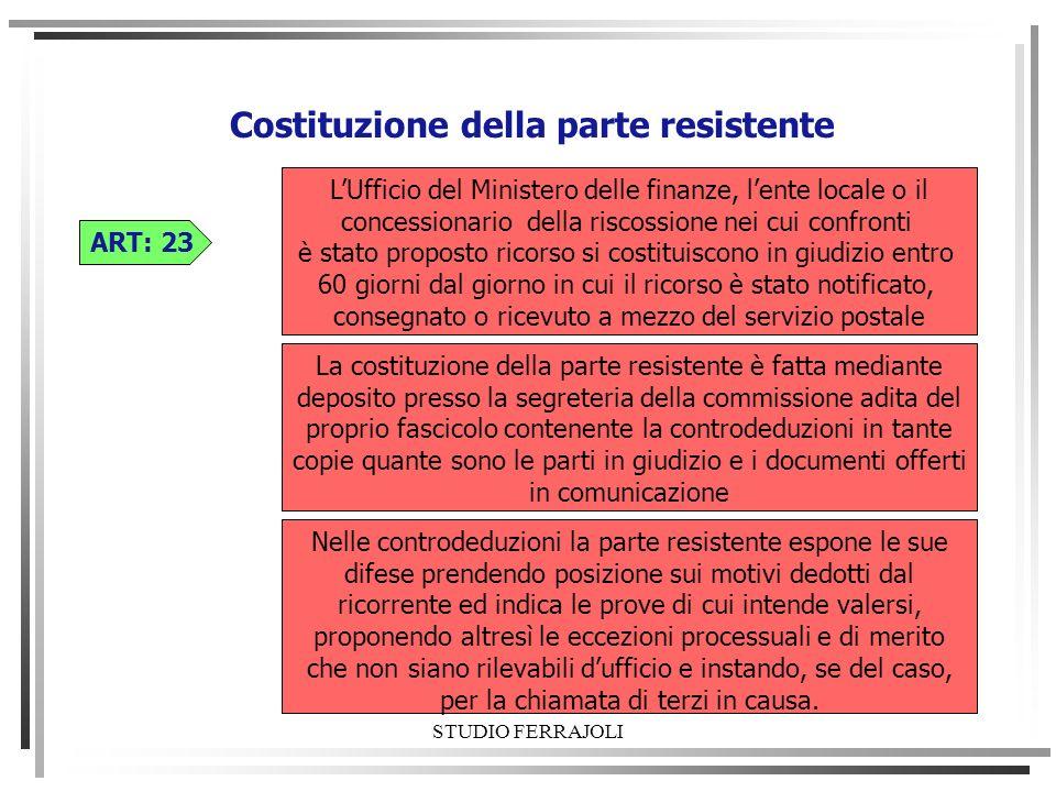 STUDIO FERRAJOLI Costituzione della parte resistente ART: 23 La costituzione della parte resistente è fatta mediante deposito presso la segreteria del