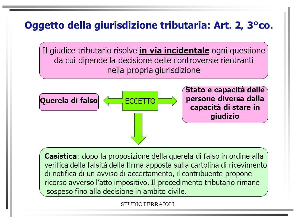 STUDIO FERRAJOLI Oggetto della giurisdizione tributaria: Art. 2, 3°co. Il giudice tributario risolve in via incidentale ogni questione da cui dipende