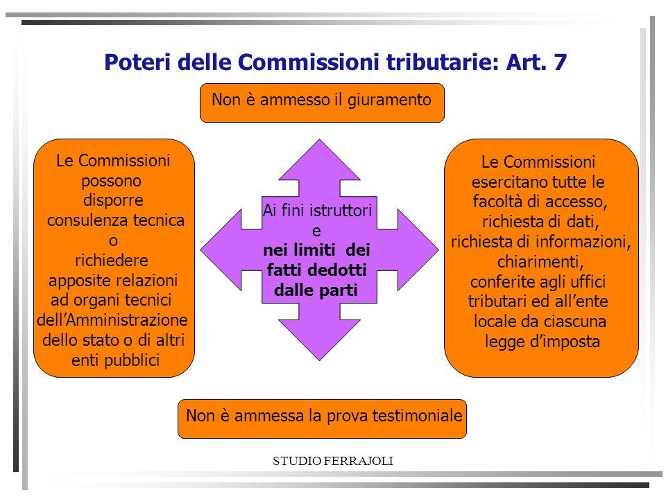 STUDIO FERRAJOLI Poteri delle Commissioni tributarie: Art. 7 Ai fini istruttori e nei limiti dei fatti dedotti dalle parti Non è ammesso il giuramento