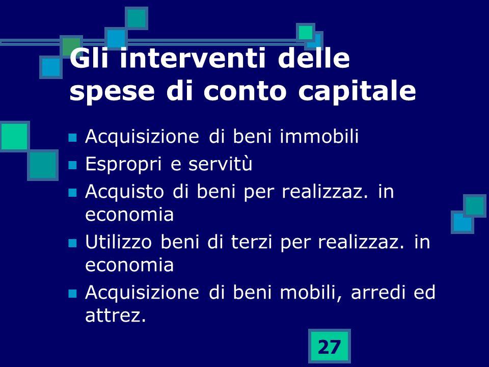 27 Gli interventi delle spese di conto capitale Acquisizione di beni immobili Espropri e servitù Acquisto di beni per realizzaz. in economia Utilizzo