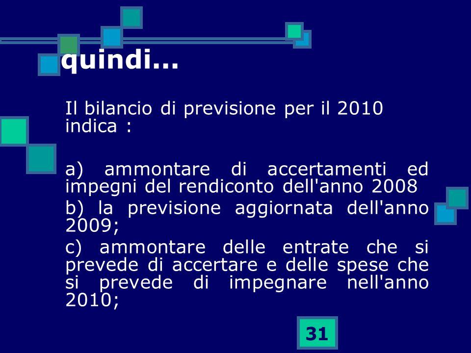 31 quindi... Il bilancio di previsione per il 2010 indica : a) ammontare di accertamenti ed impegni del rendiconto dell'anno 2008 b) la previsione agg