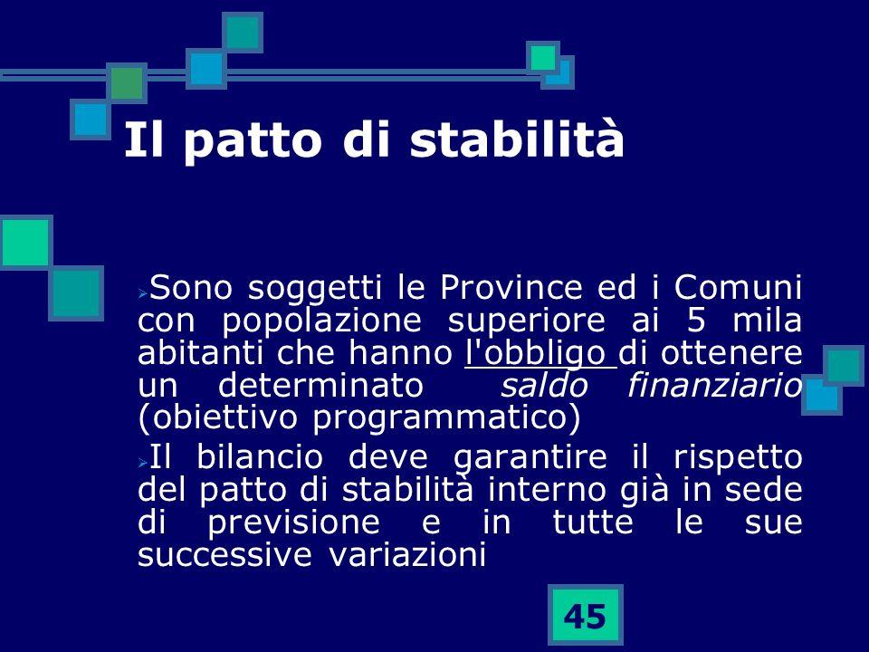 45 Il patto di stabilità Sono soggetti le Province ed i Comuni con popolazione superiore ai 5 mila abitanti che hanno l'obbligo di ottenere un determi