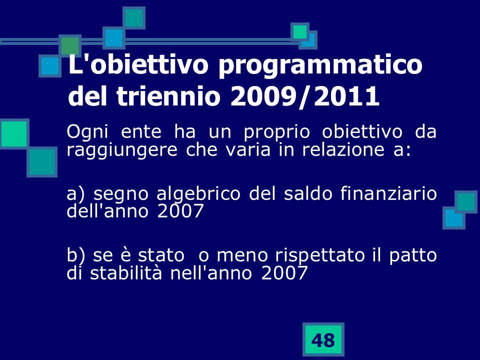 48 L'obiettivo programmatico del triennio 2009/2011 Ogni ente ha un proprio obiettivo da raggiungere che varia in relazione a: a) segno algebrico del