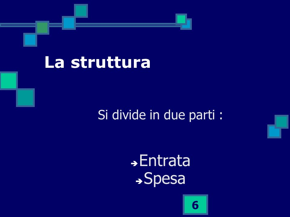 6 La struttura Si divide in due parti : Entrata Spesa