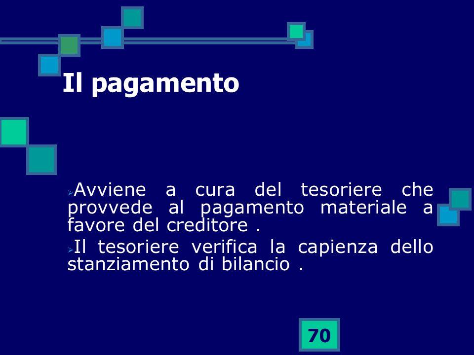 70 Il pagamento Avviene a cura del tesoriere che provvede al pagamento materiale a favore del creditore. Il tesoriere verifica la capienza dello stanz
