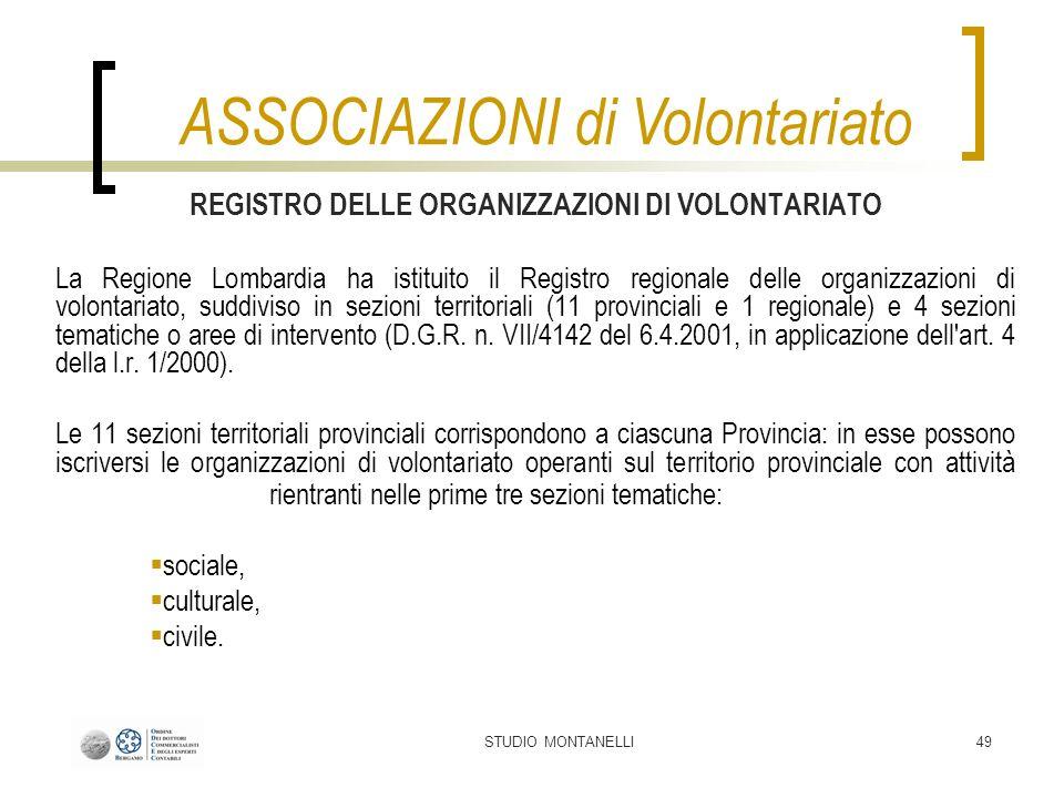 STUDIO MONTANELLI49 REGISTRO DELLE ORGANIZZAZIONI DI VOLONTARIATO La Regione Lombardia ha istituito il Registro regionale delle organizzazioni di volo