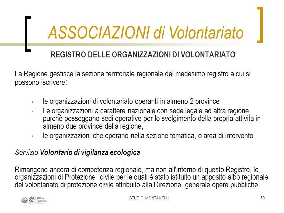 STUDIO MONTANELLI50 REGISTRO DELLE ORGANIZZAZIONI DI VOLONTARIATO La Regione gestisce la sezione territoriale regionale del medesimo registro a cui si