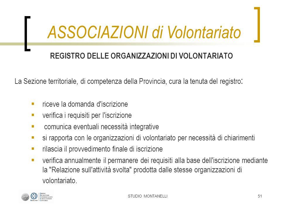 STUDIO MONTANELLI51 REGISTRO DELLE ORGANIZZAZIONI DI VOLONTARIATO La Sezione territoriale, di competenza della Provincia, cura la tenuta del registro