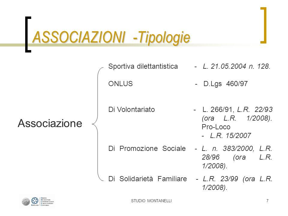 STUDIO MONTANELLI7 Associazione Sportiva dilettantistica - L. 21.05.2004 n. 128. ONLUS - D.Lgs 460/97 Di Volontariato - L. 266/91, L.R. 22/93 (ora L.R