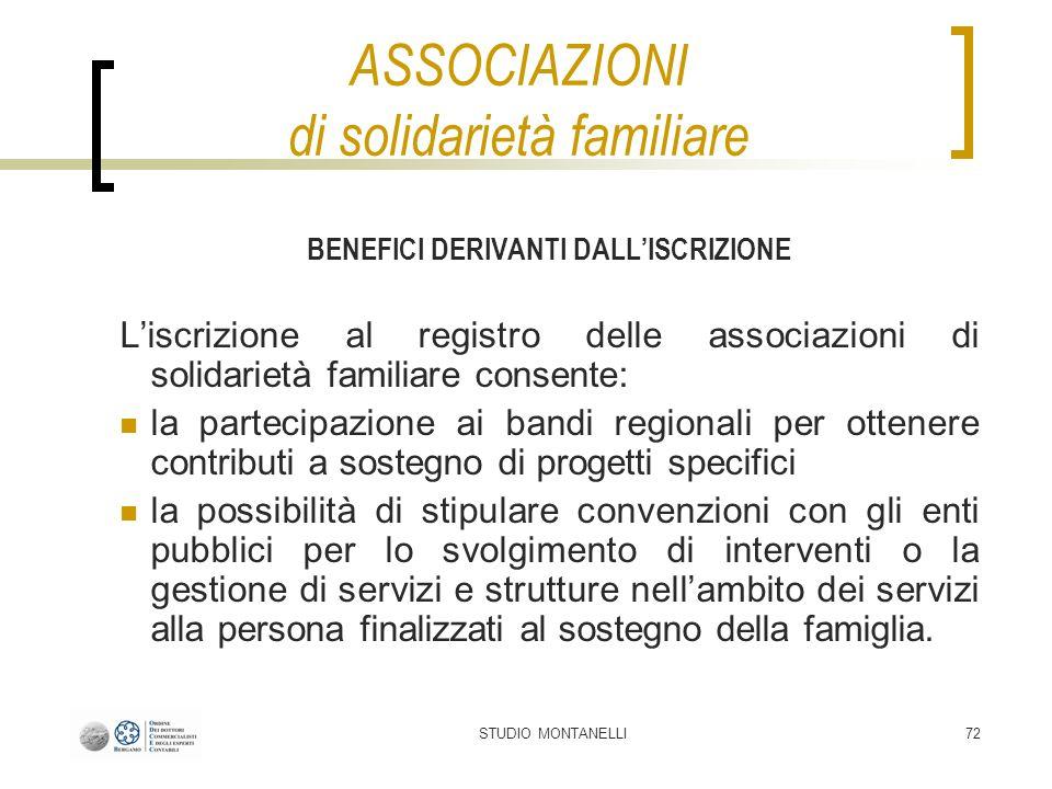 STUDIO MONTANELLI72 ASSOCIAZIONI di solidarietà familiare BENEFICI DERIVANTI DALLISCRIZIONE Liscrizione al registro delle associazioni di solidarietà