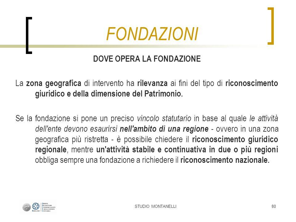 STUDIO MONTANELLI80 DOVE OPERA LA FONDAZIONE La zona geografica di intervento ha rilevanza ai fini del tipo di riconoscimento giuridico e della dimens