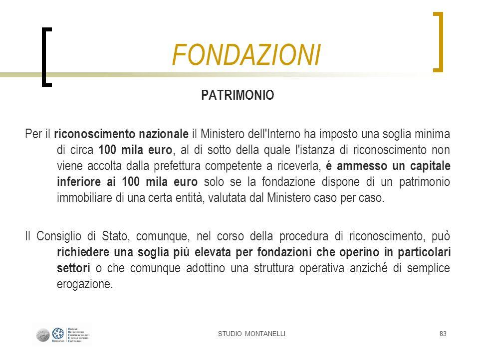 STUDIO MONTANELLI83 PATRIMONIO Per il riconoscimento nazionale il Ministero dell'Interno ha imposto una soglia minima di circa 100 mila euro, al di so
