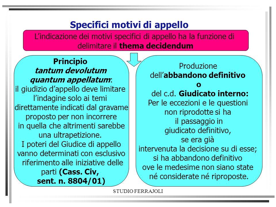 Specifici motivi di appello Lindicazione dei motivi specifici di appello ha la funzione di delimitare il thema decidendum Principio tantum devolutum q