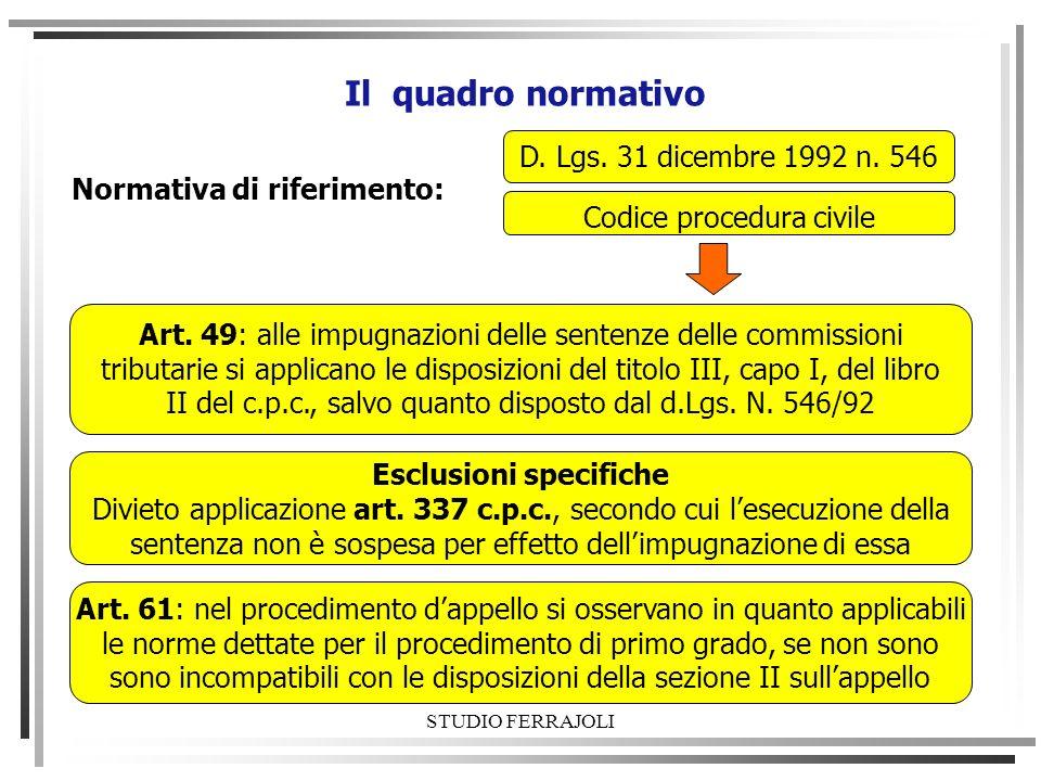 STUDIO FERRAJOLI Il quadro normativo D. Lgs. 31 dicembre 1992 n. 546 Normativa di riferimento: Codice procedura civile Art. 49: alle impugnazioni dell