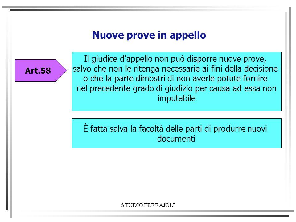 STUDIO FERRAJOLI Nuove prove in appello Art.58 È fatta salva la facoltà delle parti di produrre nuovi documenti Il giudice dappello non può disporre n