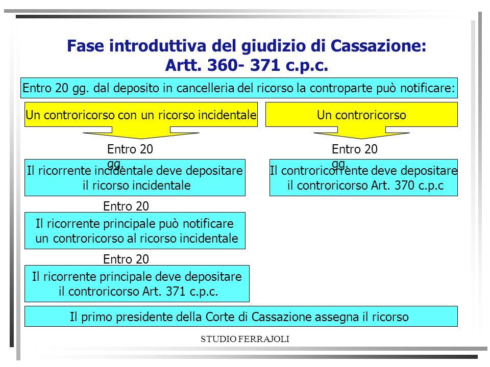 STUDIO FERRAJOLI Fase introduttiva del giudizio di Cassazione: Artt. 360- 371 c.p.c. Il primo presidente della Corte di Cassazione assegna il ricorso