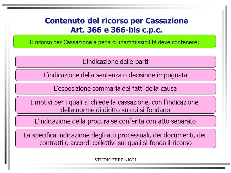 STUDIO FERRAJOLI Contenuto del ricorso per Cassazione Art. 366 e 366-bis c.p.c. Lindicazione delle parti Lindicazione della sentenza o decisione impug