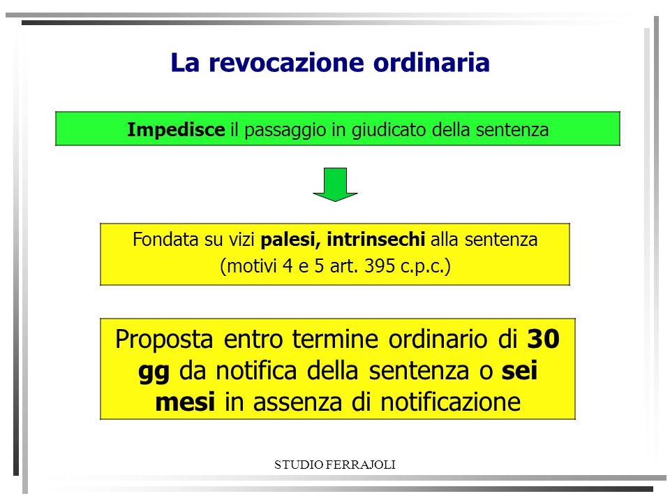 STUDIO FERRAJOLI La revocazione ordinaria Impedisce il passaggio in giudicato della sentenza Fondata su vizi palesi, intrinsechi alla sentenza (motivi