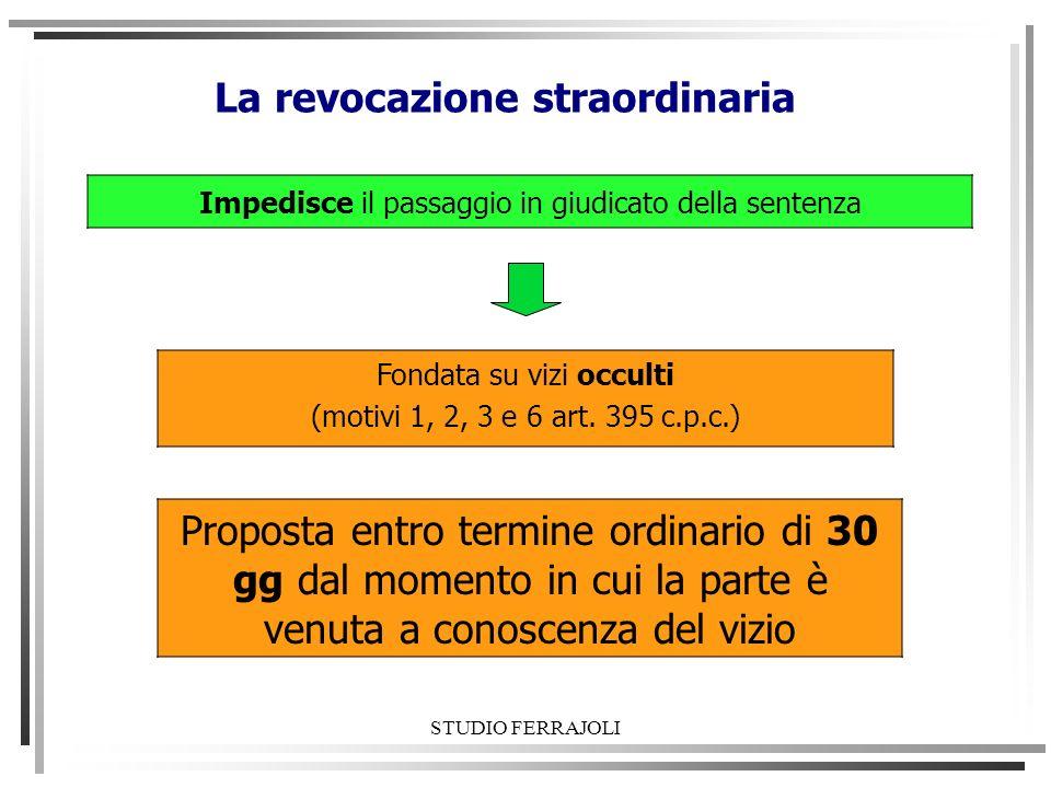 STUDIO FERRAJOLI La revocazione straordinaria Impedisce il passaggio in giudicato della sentenza Fondata su vizi occulti (motivi 1, 2, 3 e 6 art. 395