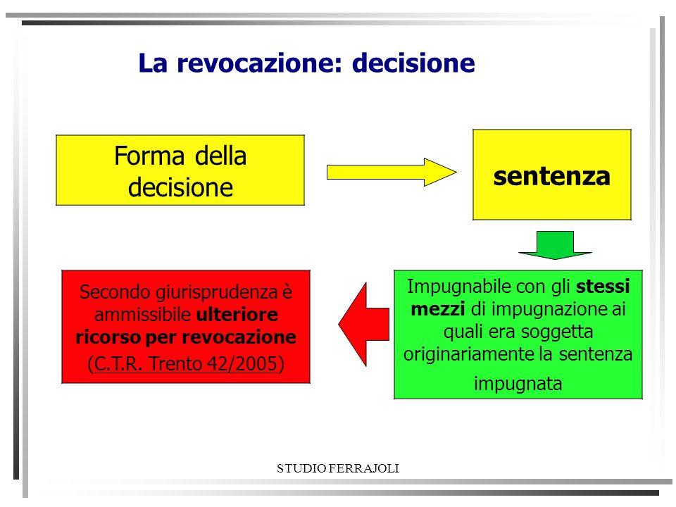 STUDIO FERRAJOLI La revocazione: decisione Forma della decisione Impugnabile con gli stessi mezzi di impugnazione ai quali era soggetta originariament