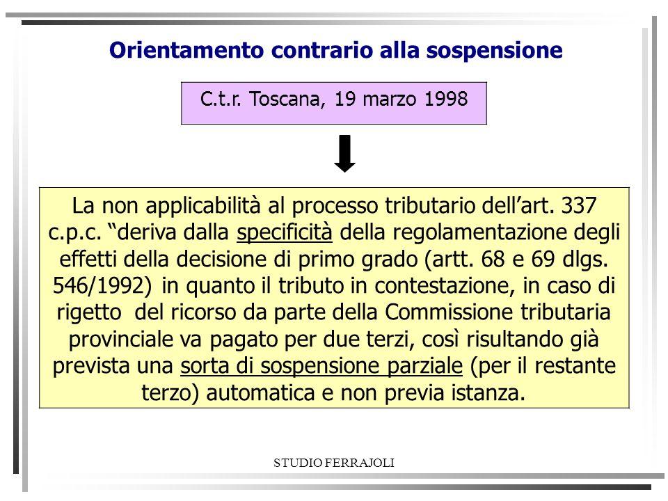Orientamento contrario alla sospensione C.t.r. Toscana, 19 marzo 1998 La non applicabilità al processo tributario dellart. 337 c.p.c. deriva dalla spe