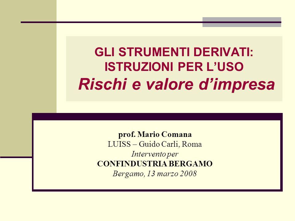 GLI STRUMENTI DERIVATI: ISTRUZIONI PER LUSO Rischi e valore dimpresa prof. Mario Comana LUISS – Guido Carli, Roma Intervento per CONFINDUSTRIA BERGAMO