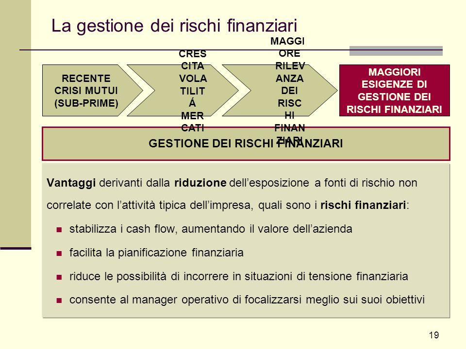 19 La gestione dei rischi finanziari Vantaggi derivanti dalla riduzione dellesposizione a fonti di rischio non correlate con lattività tipica dellimpr