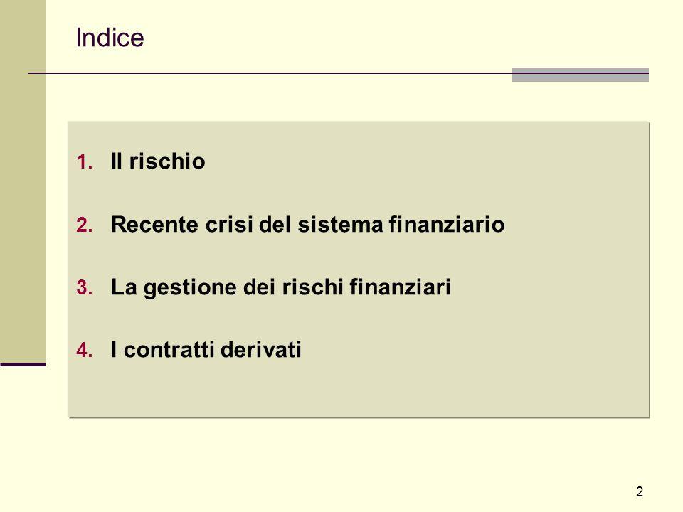 2 Indice 1. Il rischio 2. Recente crisi del sistema finanziario 3. La gestione dei rischi finanziari 4. I contratti derivati