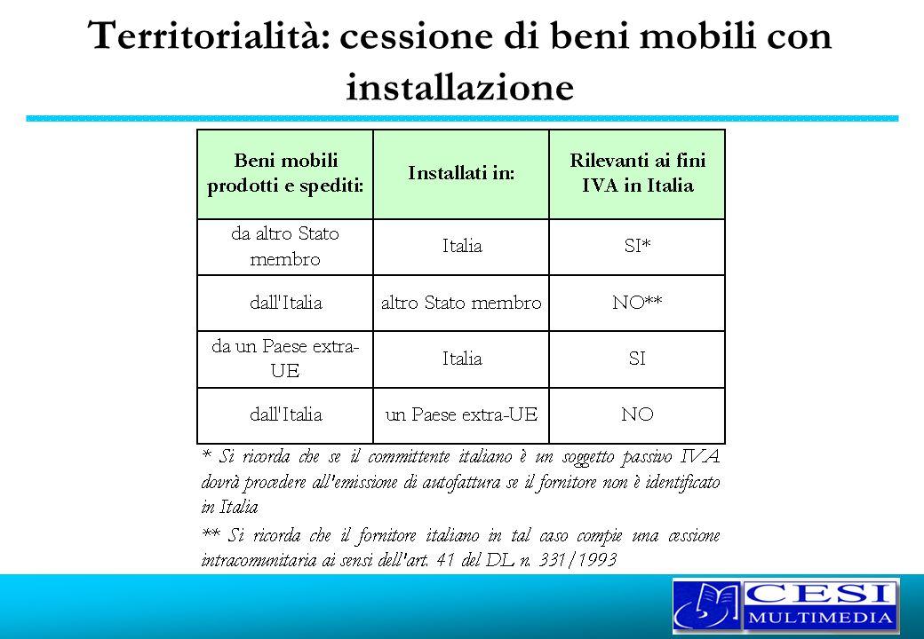 Territorialità: cessione di beni mobili con installazione
