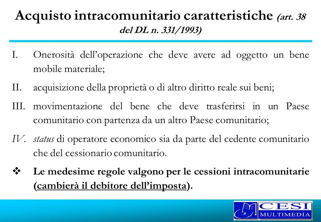 Acquisto intracomunitario caratteristiche (art. 38 del DL n. 331/1993) I.Onerosità delloperazione che deve avere ad oggetto un bene mobile materiale;