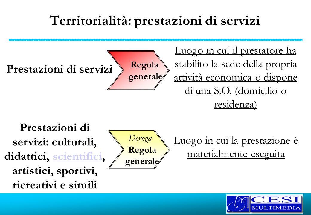 Territorialità: prestazioni di servizi Prestazioni di servizi Luogo in cui il prestatore ha stabilito la sede della propria attività economica o dispo