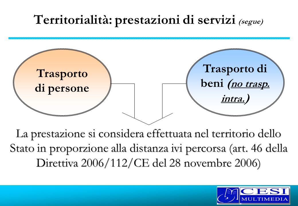 Territorialità: prestazioni di servizi (segue) Trasporto di persone Trasporto di beni ( no trasp. intra. ) La prestazione si considera effettuata nel