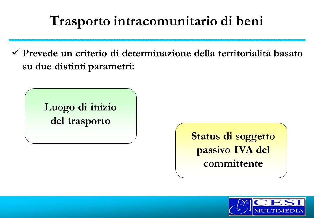 Trasporto intracomunitario di beni Prevede un criterio di determinazione della territorialità basato su due distinti parametri: Luogo di inizio del tr