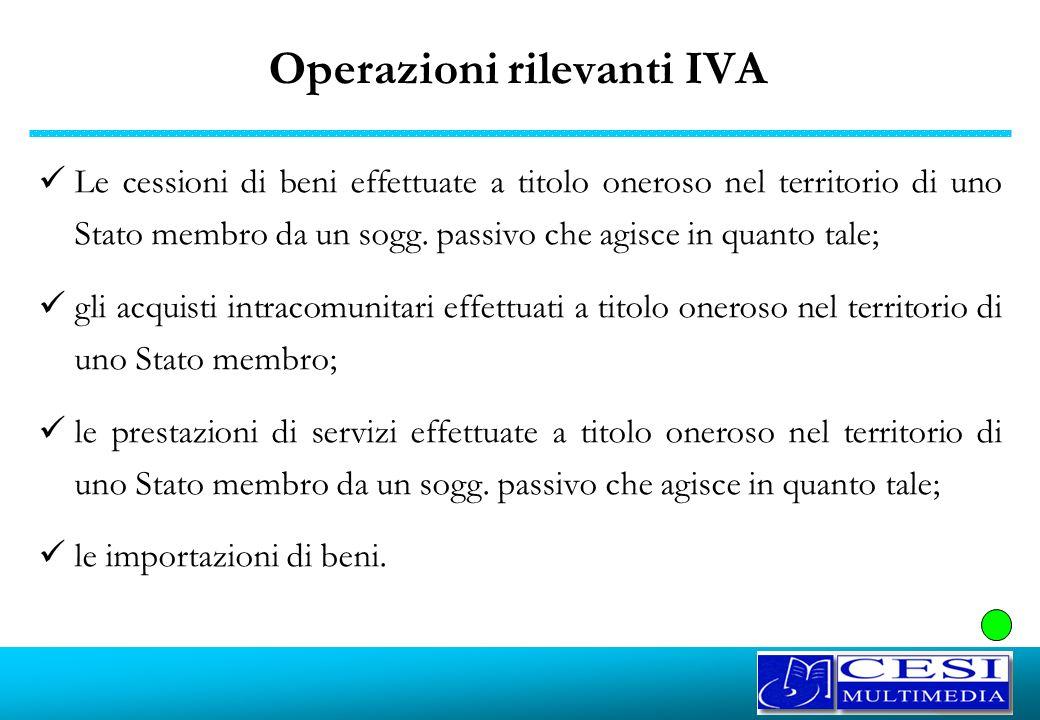 Operazioni rilevanti IVA Le cessioni di beni effettuate a titolo oneroso nel territorio di uno Stato membro da un sogg. passivo che agisce in quanto t