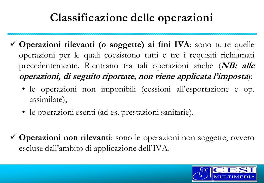 Classificazione delle operazioni Operazioni rilevanti (o soggette) ai fini IVA: sono tutte quelle operazioni per le quali coesistono tutti e tre i req
