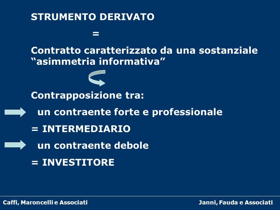 Caffi, Maroncelli e AssociatiJanni, Fauda e Associati STRUMENTO DERIVATO = Contratto caratterizzato da una sostanziale asimmetria informativa Contrapp