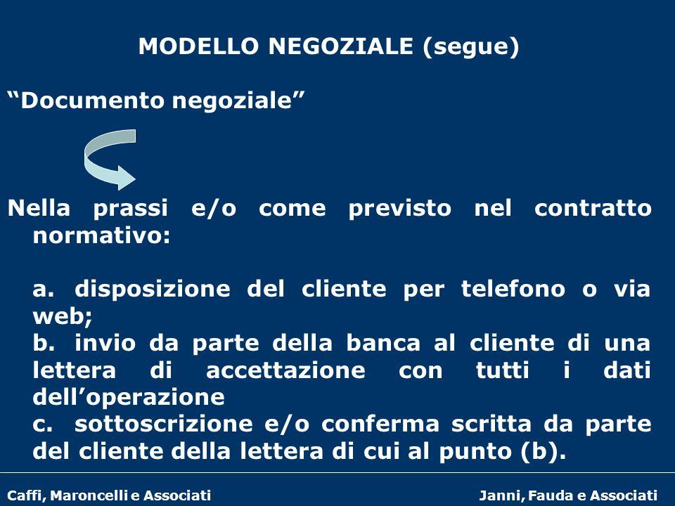 Caffi, Maroncelli e AssociatiJanni, Fauda e Associati MODELLO NEGOZIALE (segue) Documento negoziale Nella prassi e/o come previsto nel contratto norma
