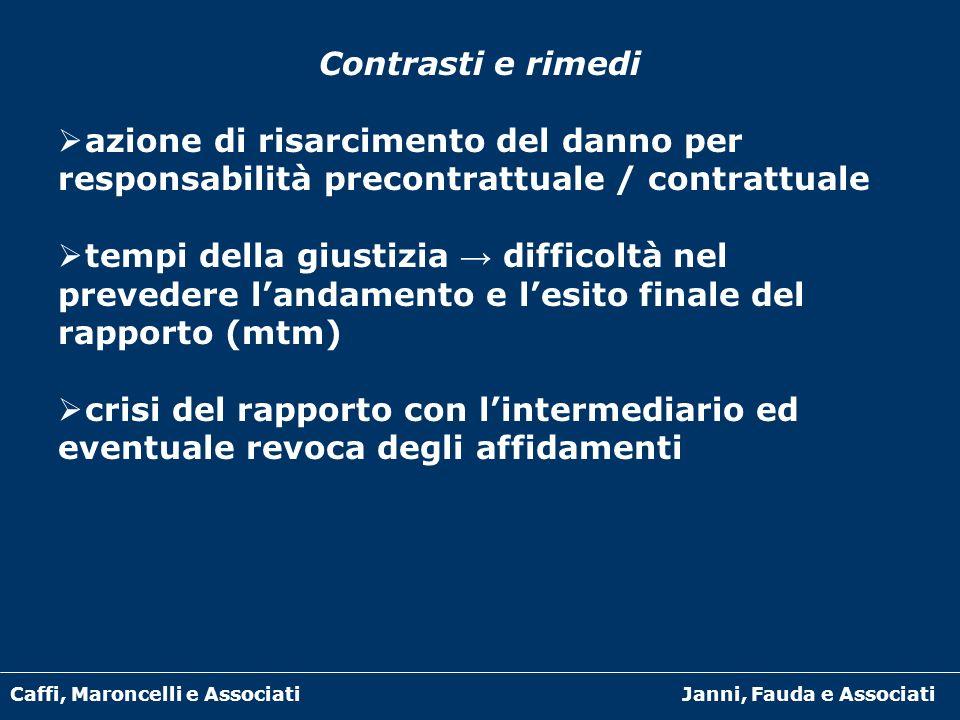 Caffi, Maroncelli e AssociatiJanni, Fauda e Associati Contrasti e rimedi azione di risarcimento del danno per responsabilità precontrattuale / contrat
