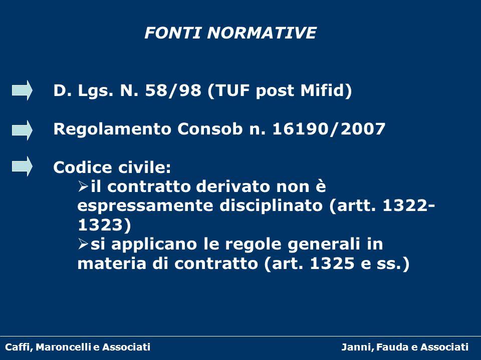 Caffi, Maroncelli e AssociatiJanni, Fauda e Associati FONTI NORMATIVE D. Lgs. N. 58/98 (TUF post Mifid) Regolamento Consob n. 16190/2007 Codice civile
