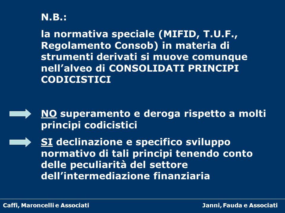Caffi, Maroncelli e AssociatiJanni, Fauda e Associati N.B.: la normativa speciale (MIFID, T.U.F., Regolamento Consob) in materia di strumenti derivati