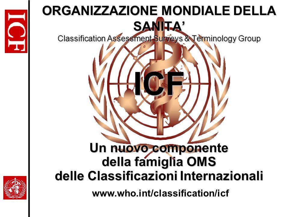 ICF ORGANIZZAZIONE MONDIALE DELLA SANITA Classification Assessment Surveys & Terminology Group Un nuovo componente della famiglia OMS delle Classifica