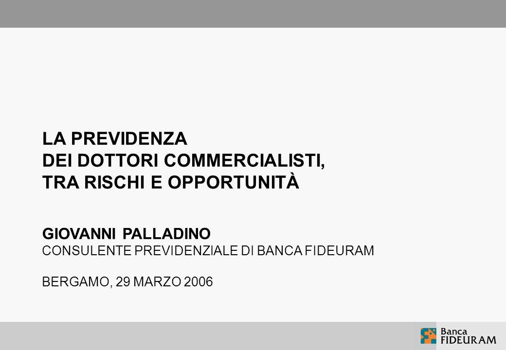 LA PREVIDENZA DEI DOTTORI COMMERCIALISTI, TRA RISCHI E OPPORTUNITÀ GIOVANNI PALLADINO CONSULENTE PREVIDENZIALE DI BANCA FIDEURAM BERGAMO, 29 MARZO 2006