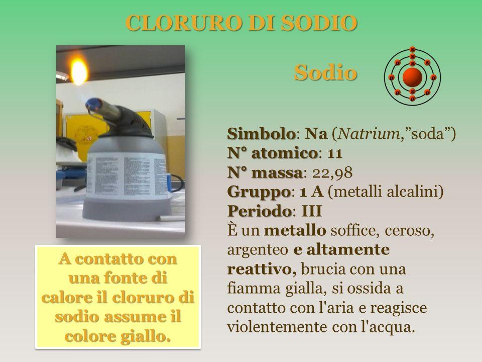 CLORURO DI SODIO Sodio Sodio Simbolo Simbolo: Na (Natrium,soda) N° atomico N° atomico: 11 N° massa N° massa: 22,98 Gruppo Gruppo: 1 A (metalli alcalin