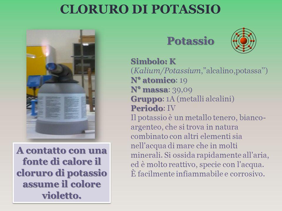 CLORURO DI POTASSIO Potassio Potassio Simbolo: K Simbolo: K (Kalium/Potassium,alcalino,potassa) N° atomico N° atomico: 19 N° massa N° massa: 39,09 Gru