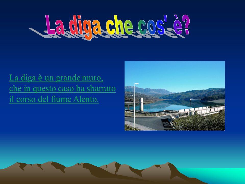La diga è un grande muro, che in questo caso ha sbarrato il corso del fiume Alento.