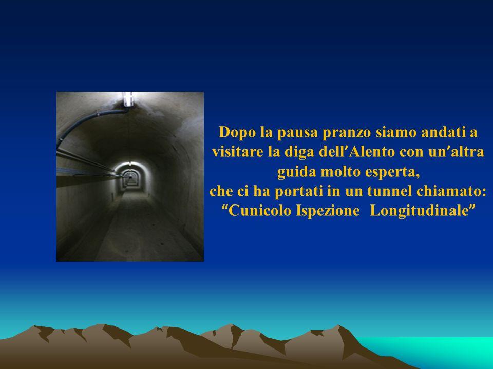 Dopo la pausa pranzo siamo andati a visitare la diga dell Alento con un altra guida molto esperta, che ci ha portati in un tunnel chiamato: Cunicolo Ispezione Longitudinale