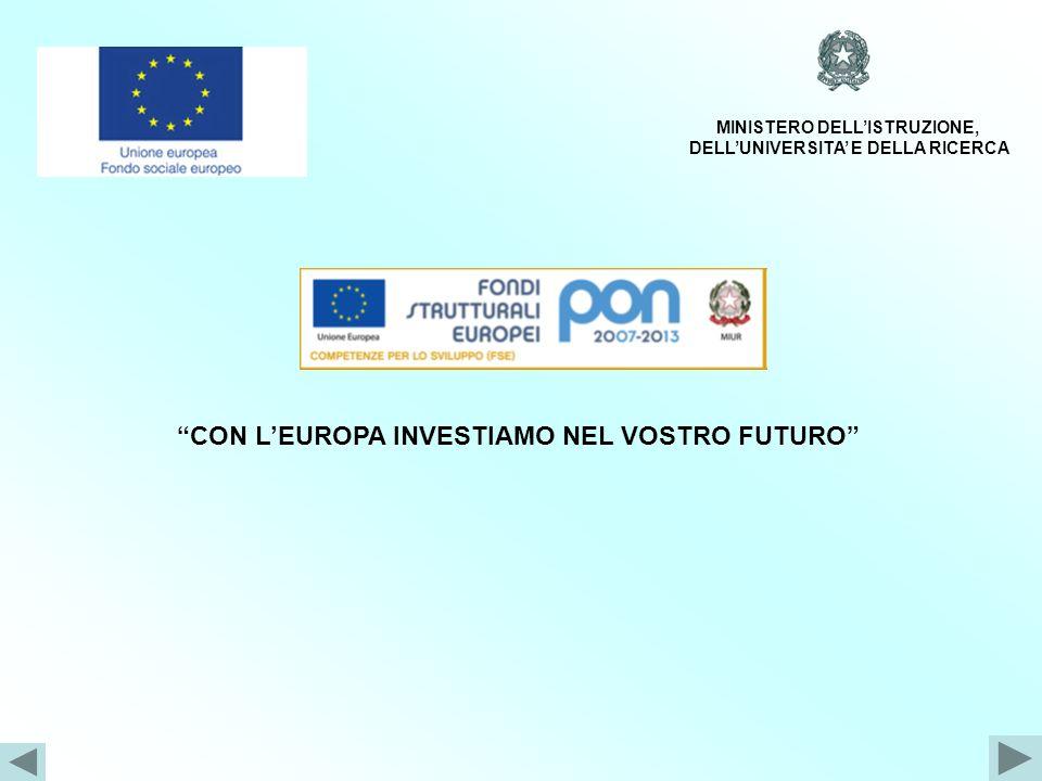 CON LEUROPA INVESTIAMO NEL VOSTRO FUTURO MINISTERO DELLISTRUZIONE, DELLUNIVERSITA E DELLA RICERCA Programmazione 2007/2013